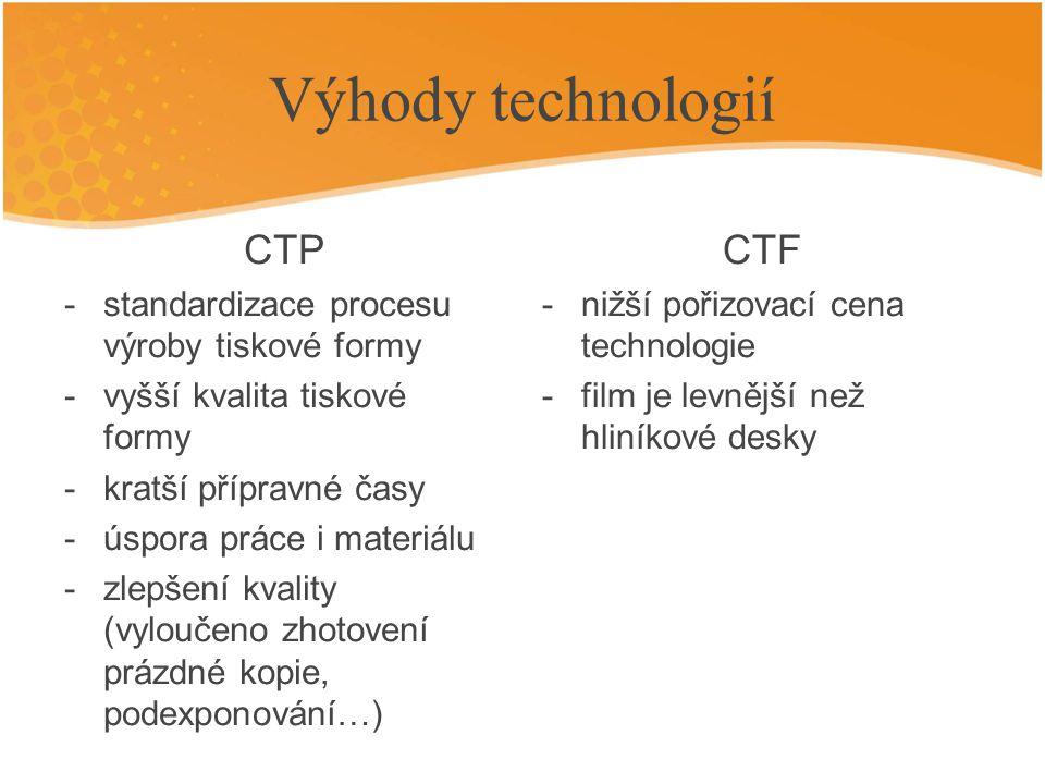 Výhody technologií CTP CTF standardizace procesu výroby tiskové formy