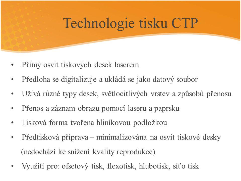 Technologie tisku CTP Přímý osvit tiskových desek laserem
