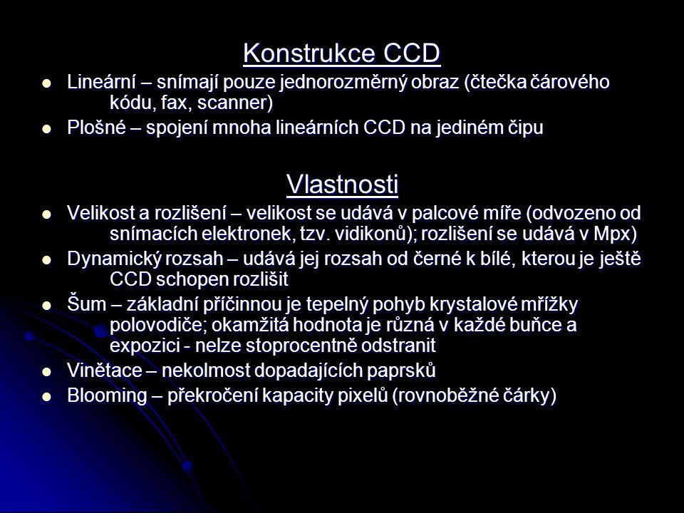 Konstrukce CCD Vlastnosti