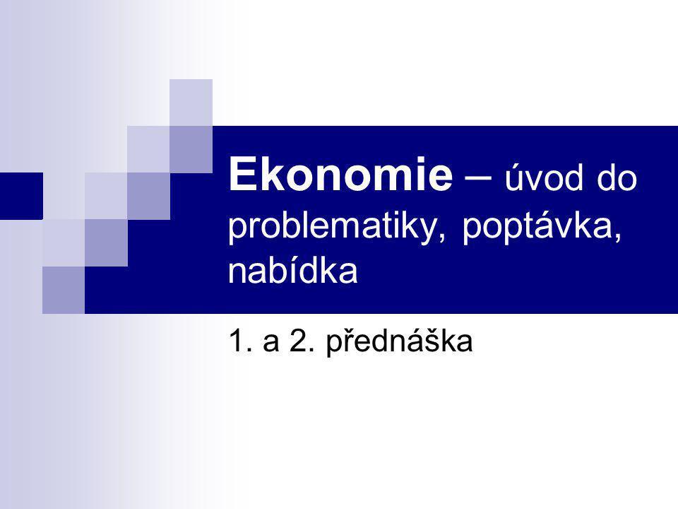 Ekonomie – úvod do problematiky, poptávka, nabídka