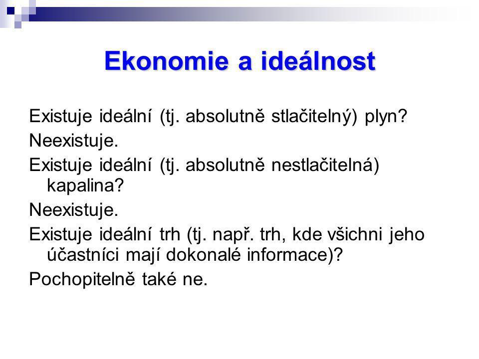 Ekonomie a ideálnost Existuje ideální (tj. absolutně stlačitelný) plyn Neexistuje. Existuje ideální (tj. absolutně nestlačitelná) kapalina