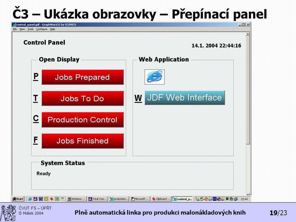 Č3 – Ukázka obrazovky – Přepínací panel