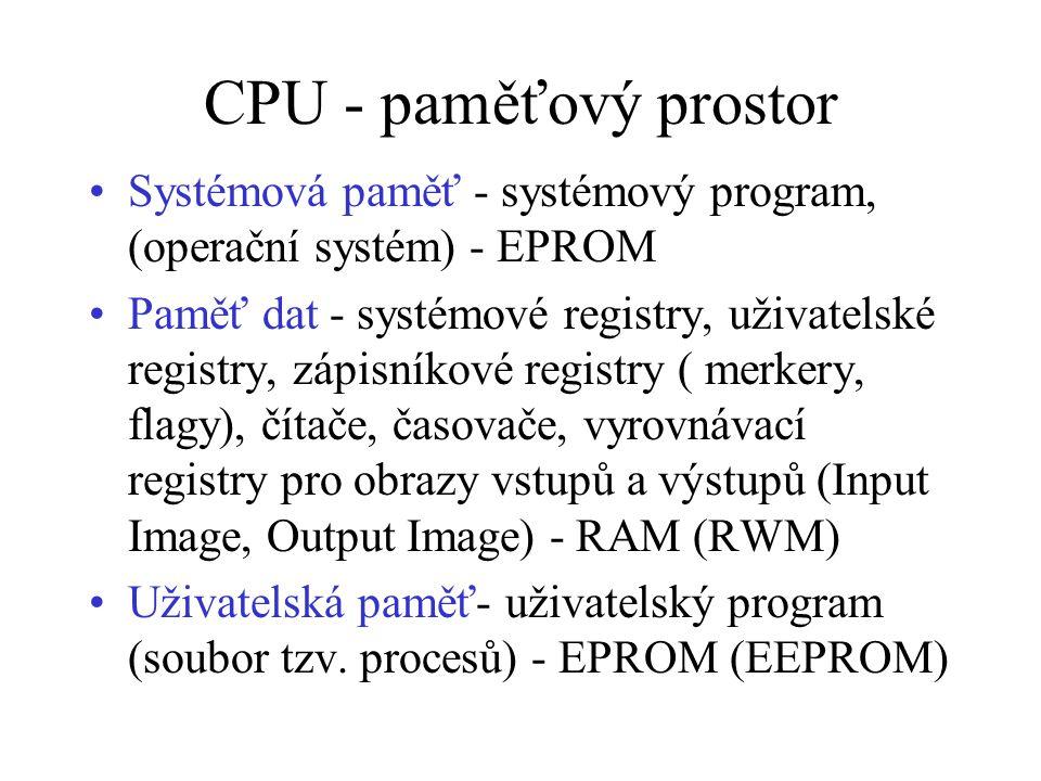 CPU - paměťový prostor Systémová paměť - systémový program, (operační systém) - EPROM.