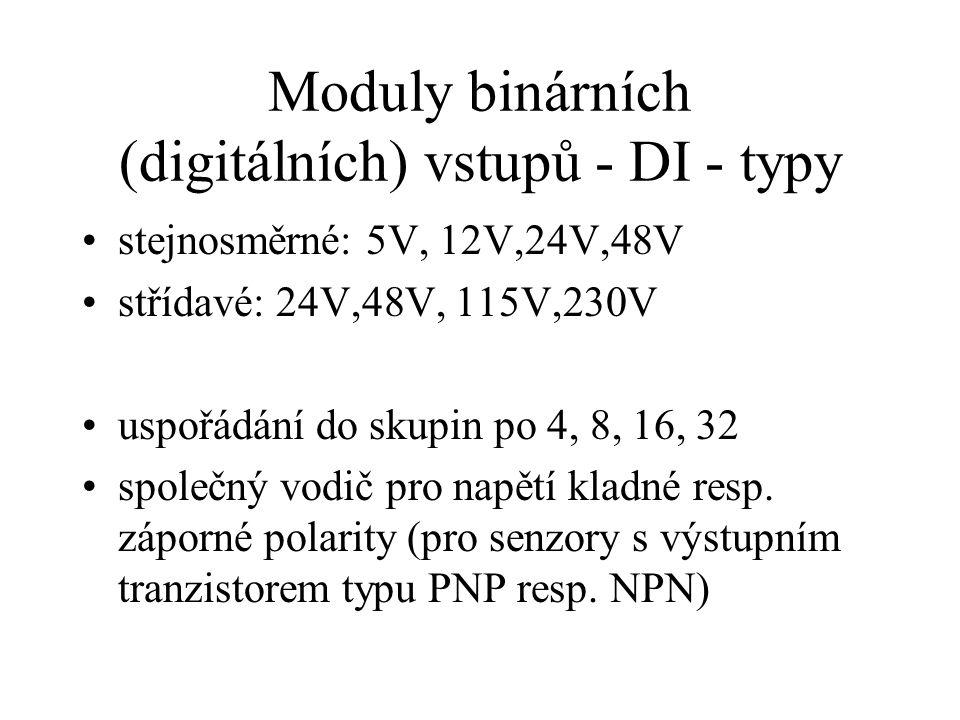 Moduly binárních (digitálních) vstupů - DI - typy