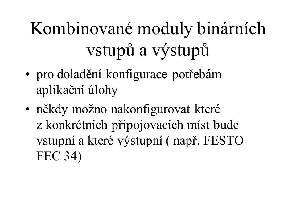 Kombinované moduly binárních vstupů a výstupů