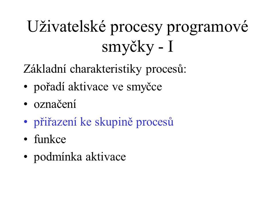 Uživatelské procesy programové smyčky - I