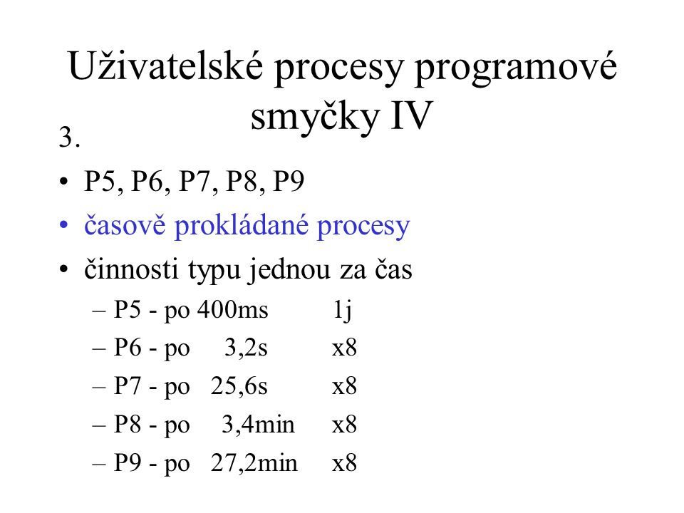 Uživatelské procesy programové smyčky IV