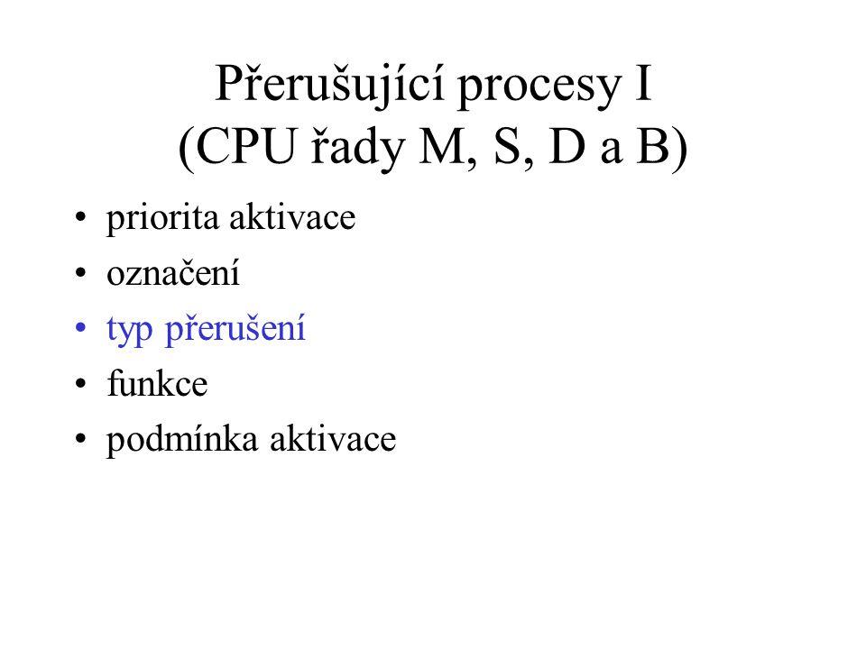 Přerušující procesy I (CPU řady M, S, D a B)
