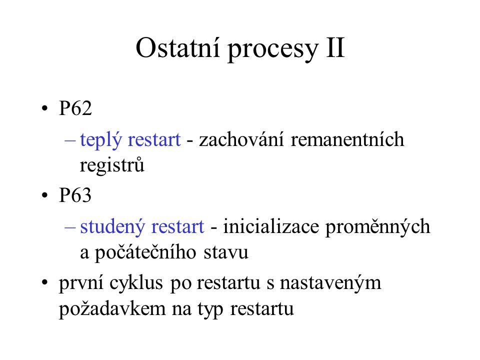 Ostatní procesy II P62 teplý restart - zachování remanentních registrů