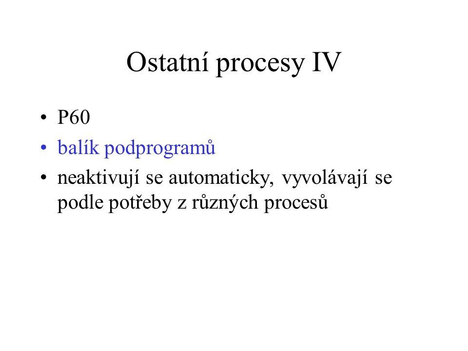 Ostatní procesy IV P60 balík podprogramů
