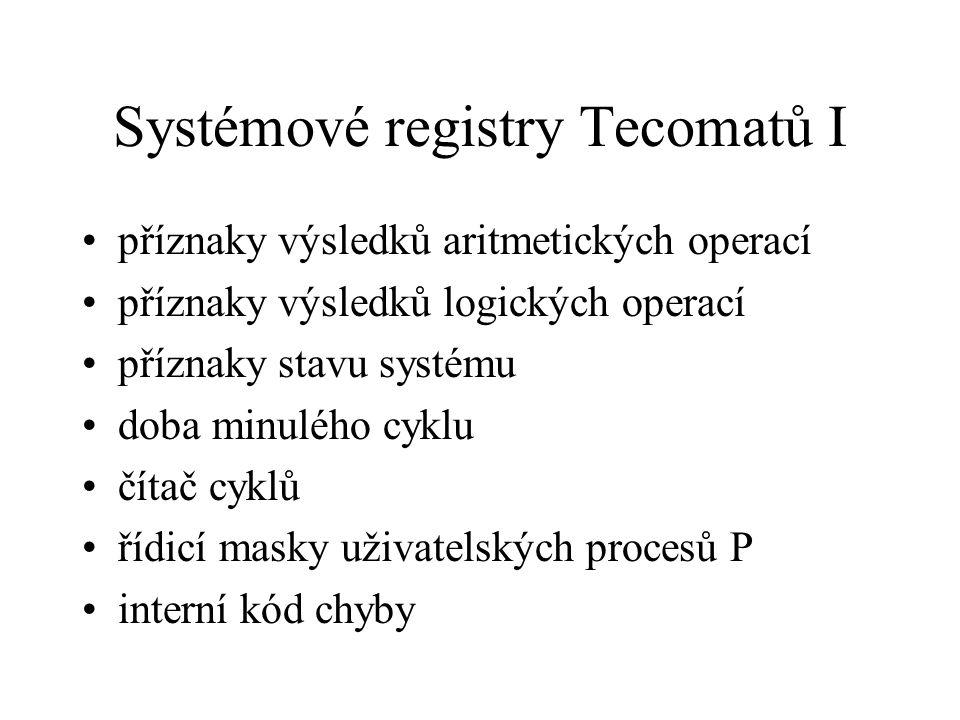 Systémové registry Tecomatů I