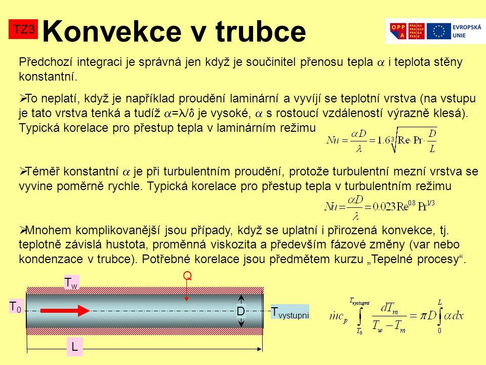 Konvekce v trubce TZ3. Předchozí integraci je správná jen když je součinitel přenosu tepla  i teplota stěny konstantní.