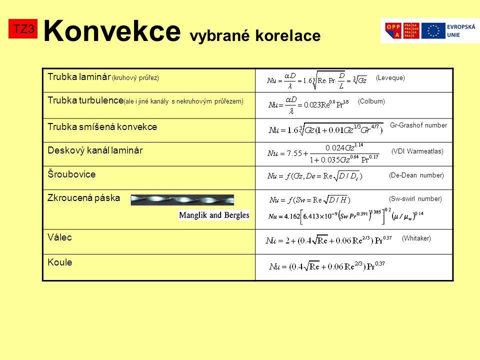 Konvekce vybrané korelace