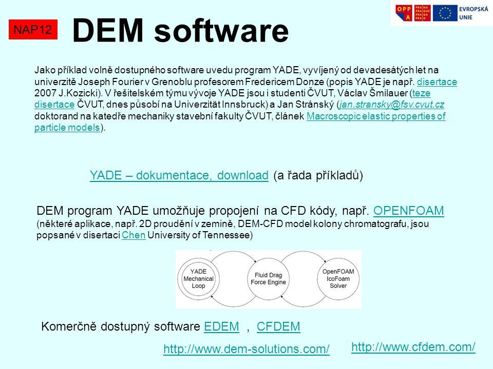 DEM software NAP12 YADE – dokumentace, download (a řada příkladů)