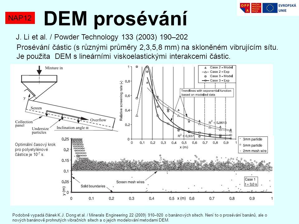 DEM prosévání NAP12. J. Li et al. / Powder Technology 133 (2003) 190–202.