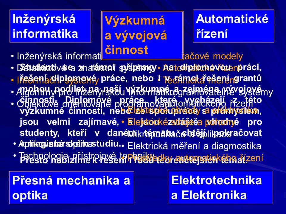Inženýrská informatika Výzkumná a vývojová činnost Automatické řízení
