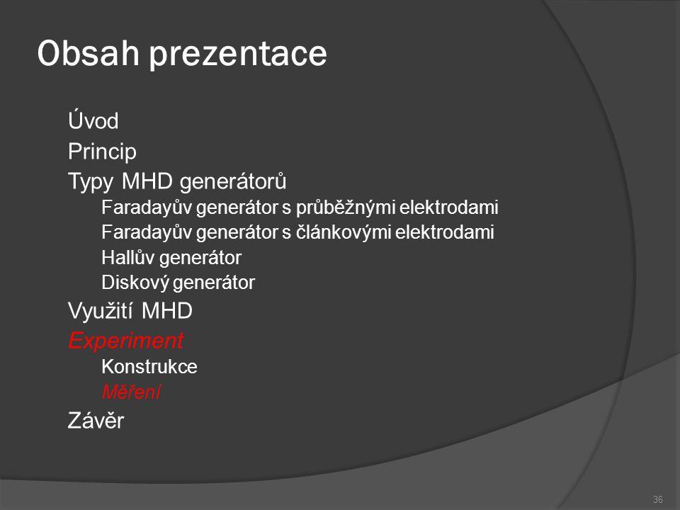 Obsah prezentace Úvod Princip Typy MHD generátorů Využití MHD