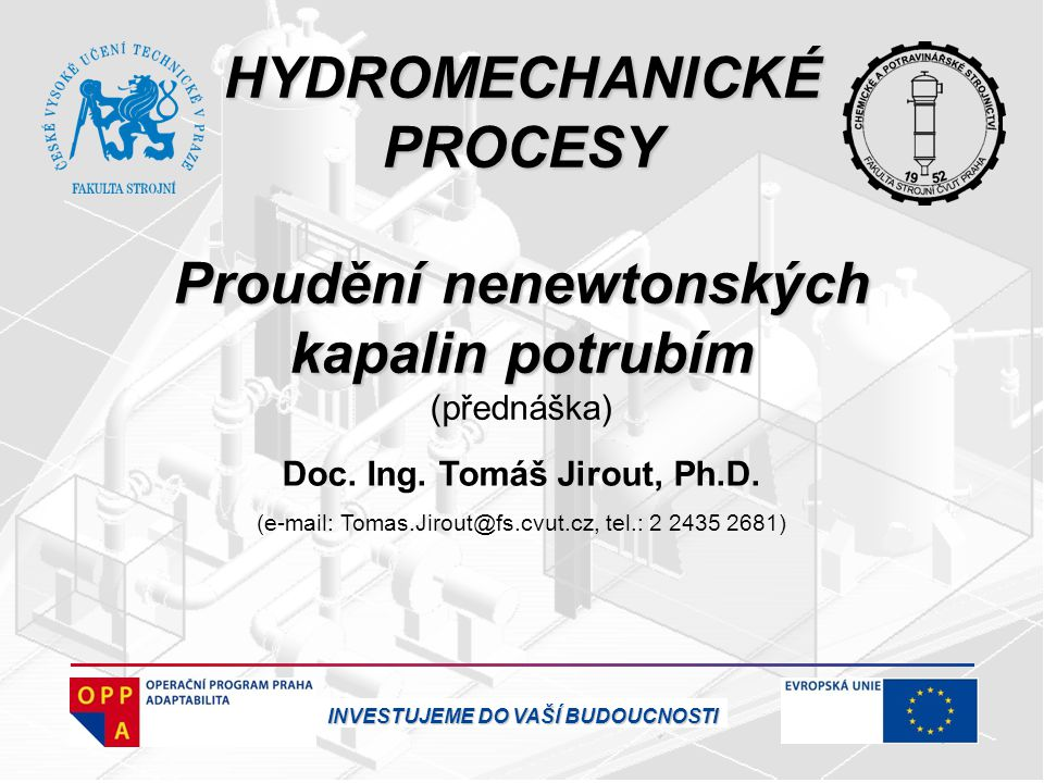 HYDROMECHANICKÉ PROCESY Proudění nenewtonských kapalin potrubím