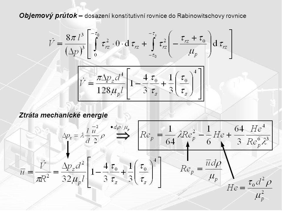 Objemový průtok – dosazení konstitutivní rovnice do Rabinowitschovy rovnice