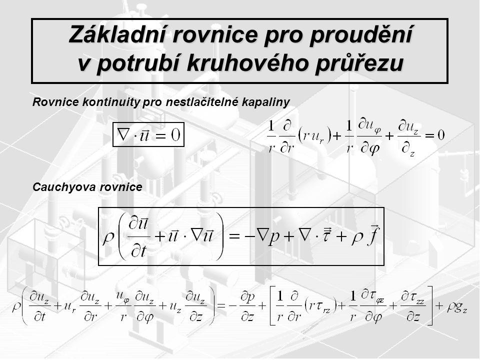 Základní rovnice pro proudění v potrubí kruhového průřezu