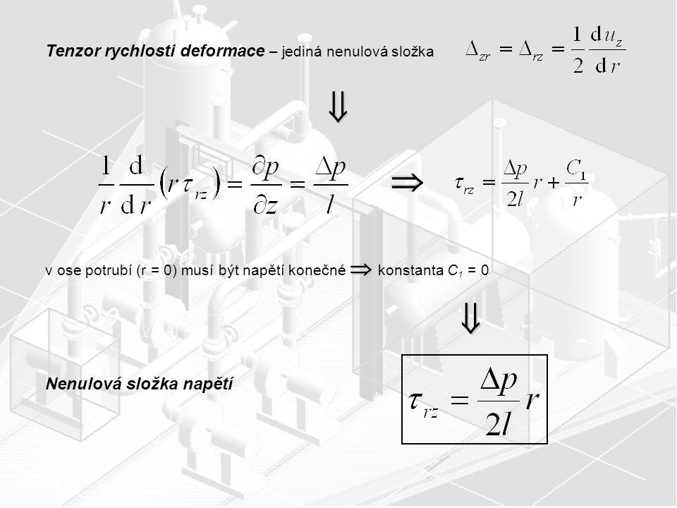    Tenzor rychlosti deformace – jediná nenulová složka