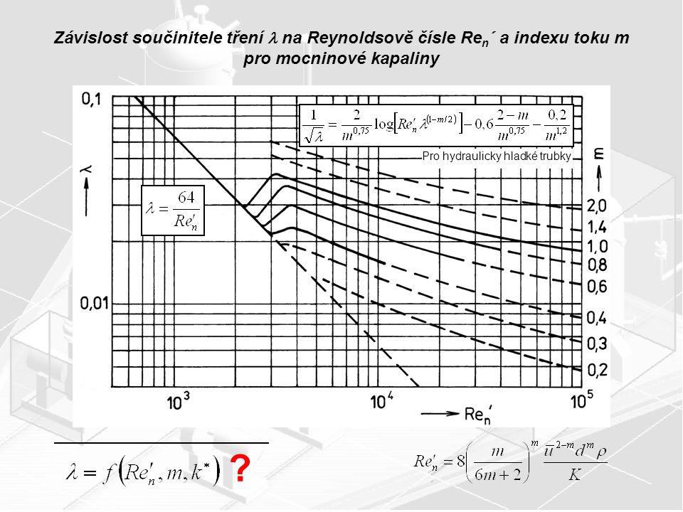 Závislost součinitele tření  na Reynoldsově čísle Ren´ a indexu toku m pro mocninové kapaliny