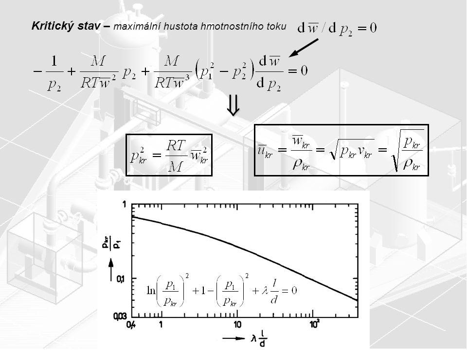 Kritický stav – maximální hustota hmotnostního toku
