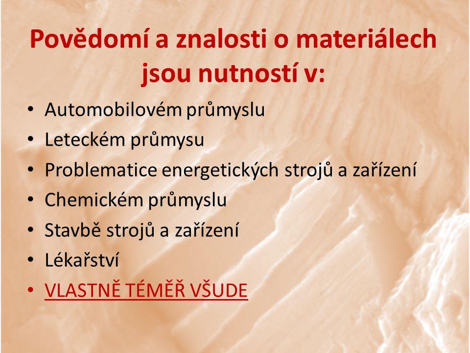 Povědomí a znalosti o materiálech jsou nutností v: