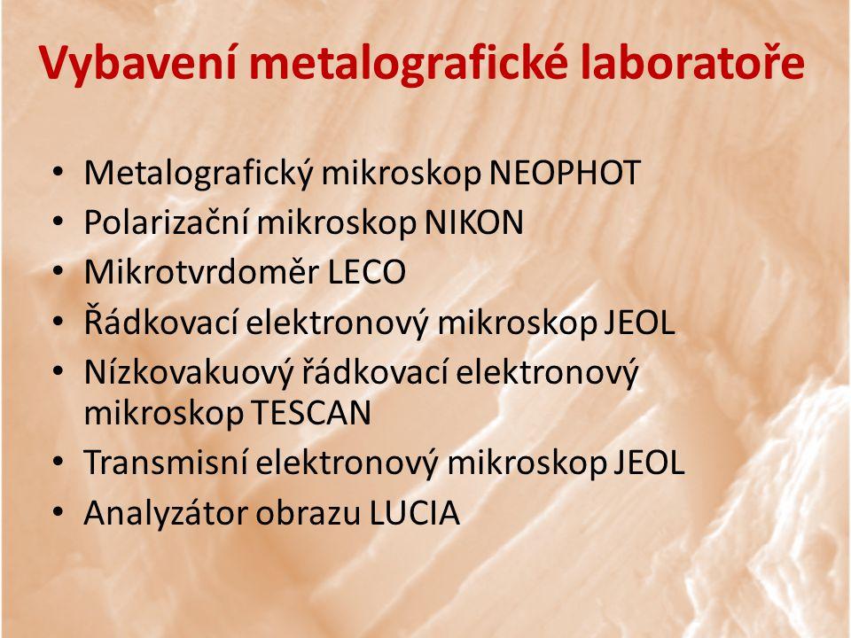 Vybavení metalografické laboratoře
