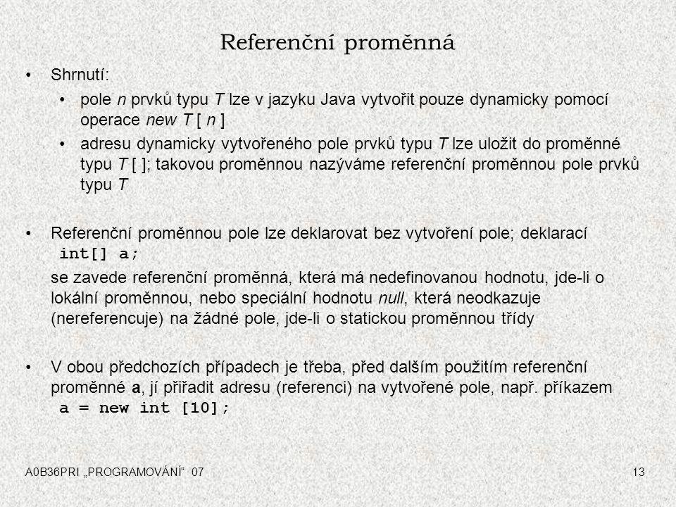 Referenční proměnná Shrnutí: