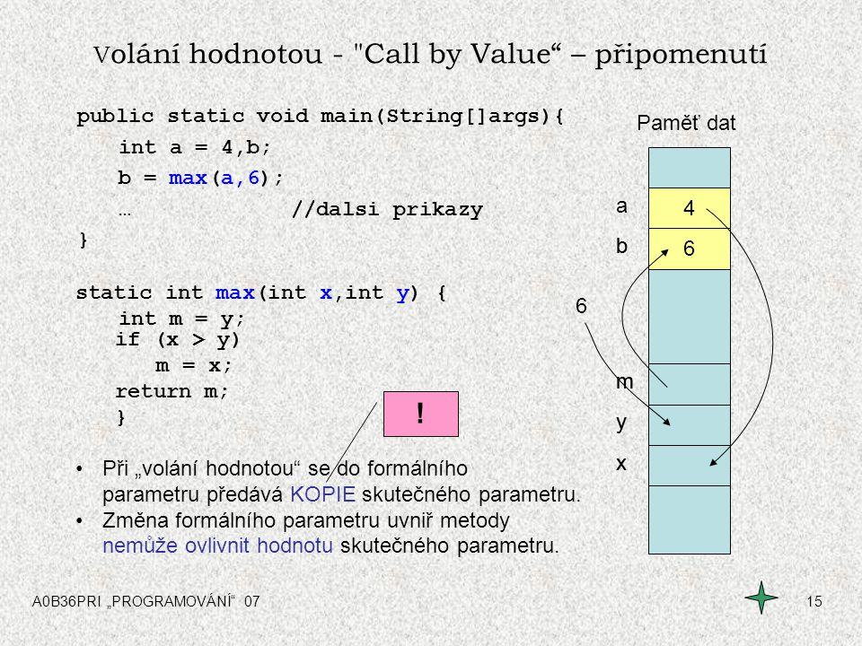 Volání hodnotou - Call by Value – připomenutí