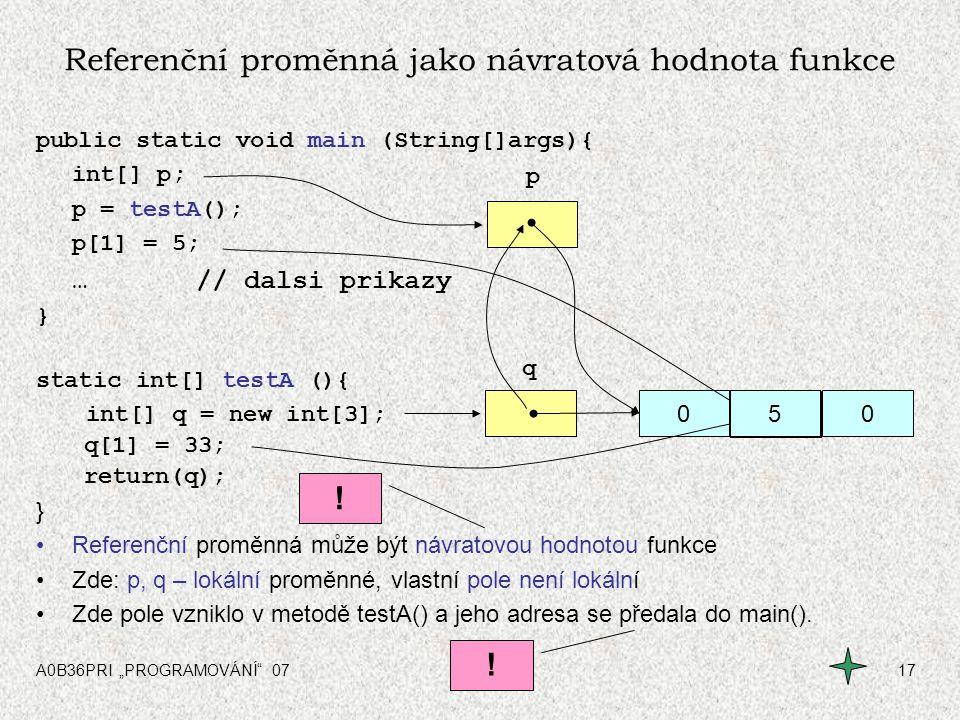 Referenční proměnná jako návratová hodnota funkce