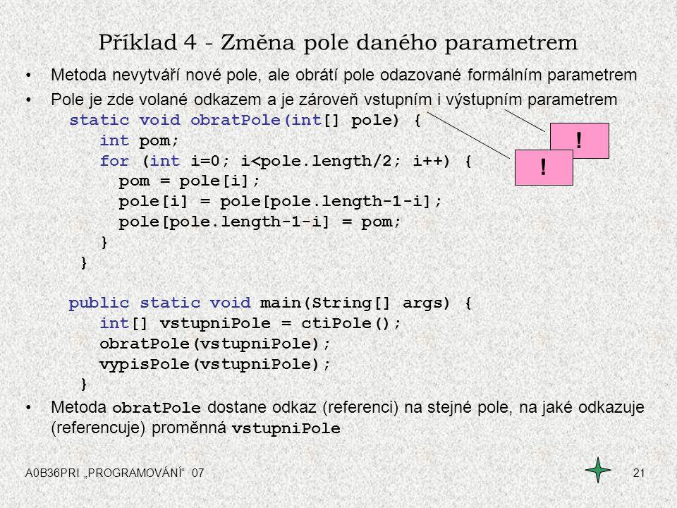 Příklad 4 - Změna pole daného parametrem