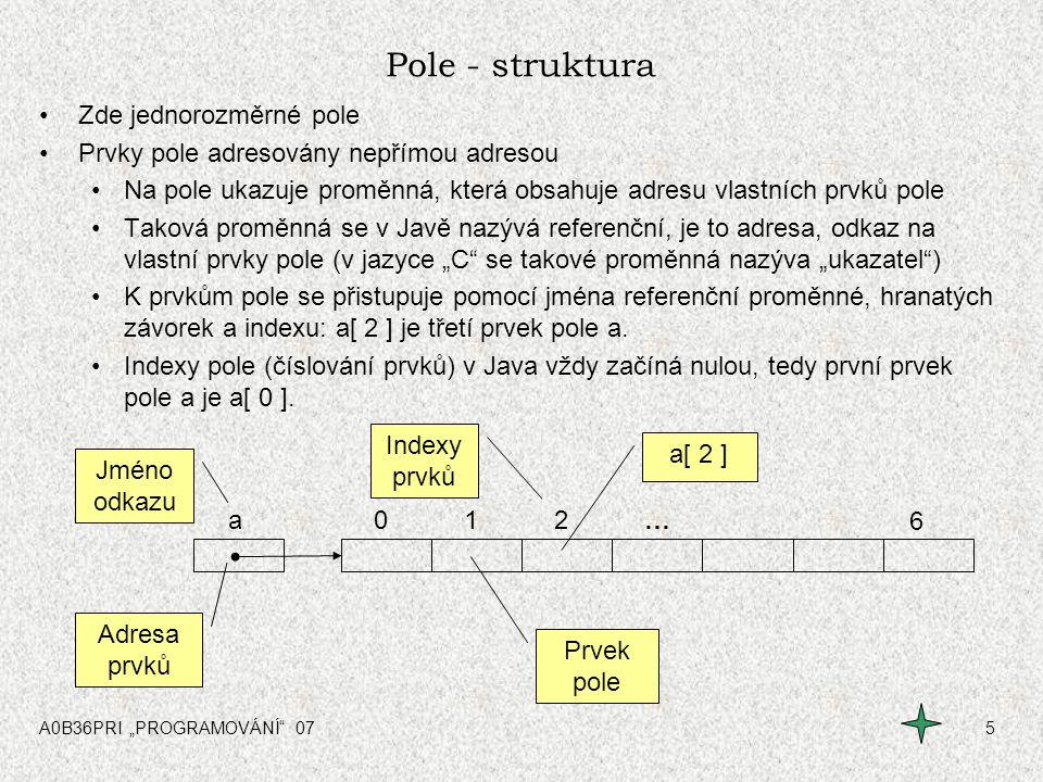 Pole - struktura Zde jednorozměrné pole
