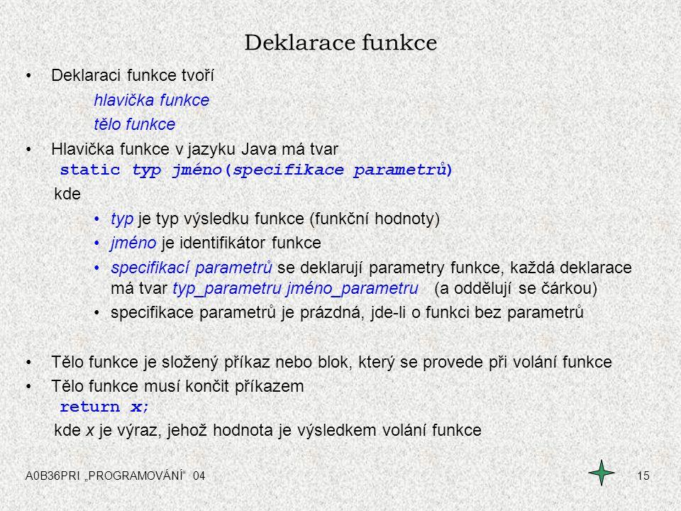 Deklarace funkce Deklaraci funkce tvoří hlavička funkce tělo funkce