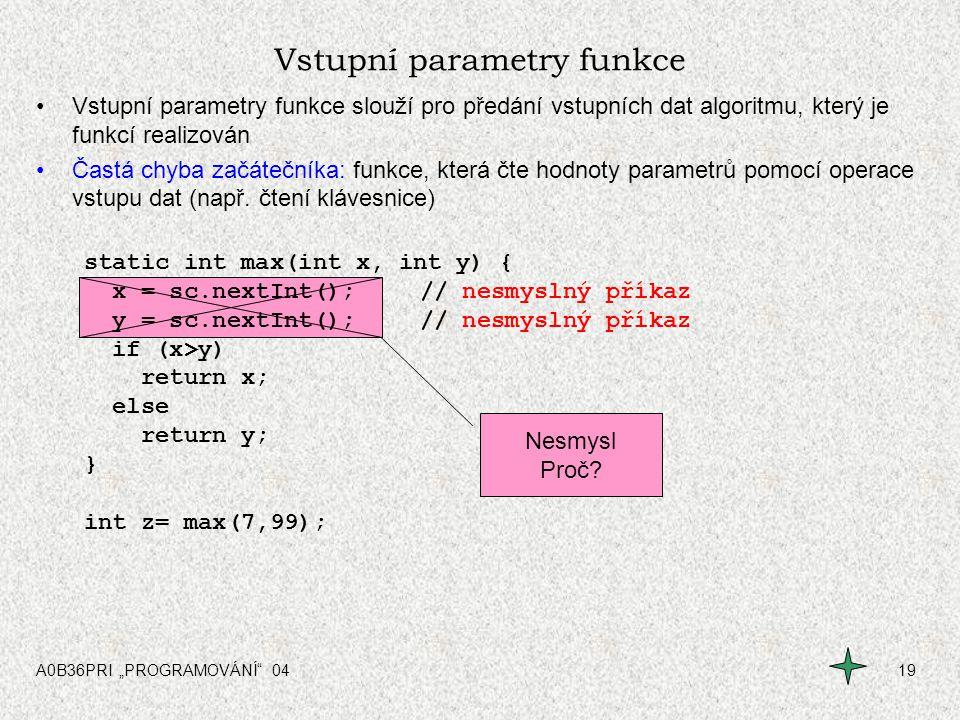 Vstupní parametry funkce