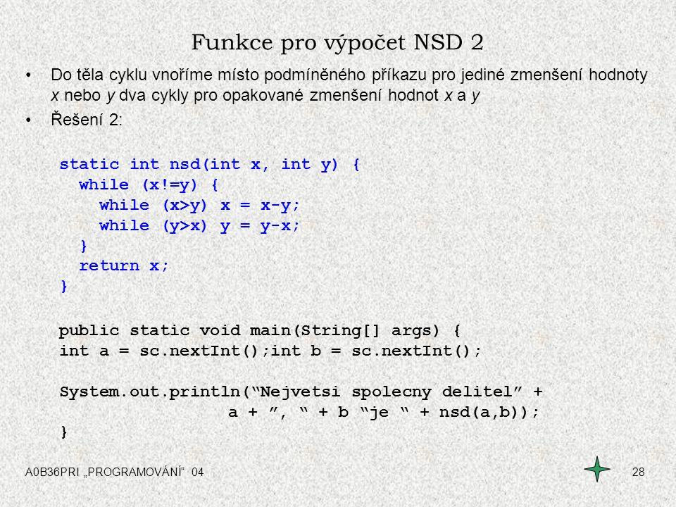 Funkce pro výpočet NSD 2
