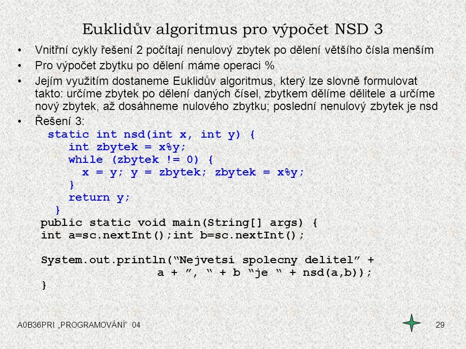 Euklidův algoritmus pro výpočet NSD 3