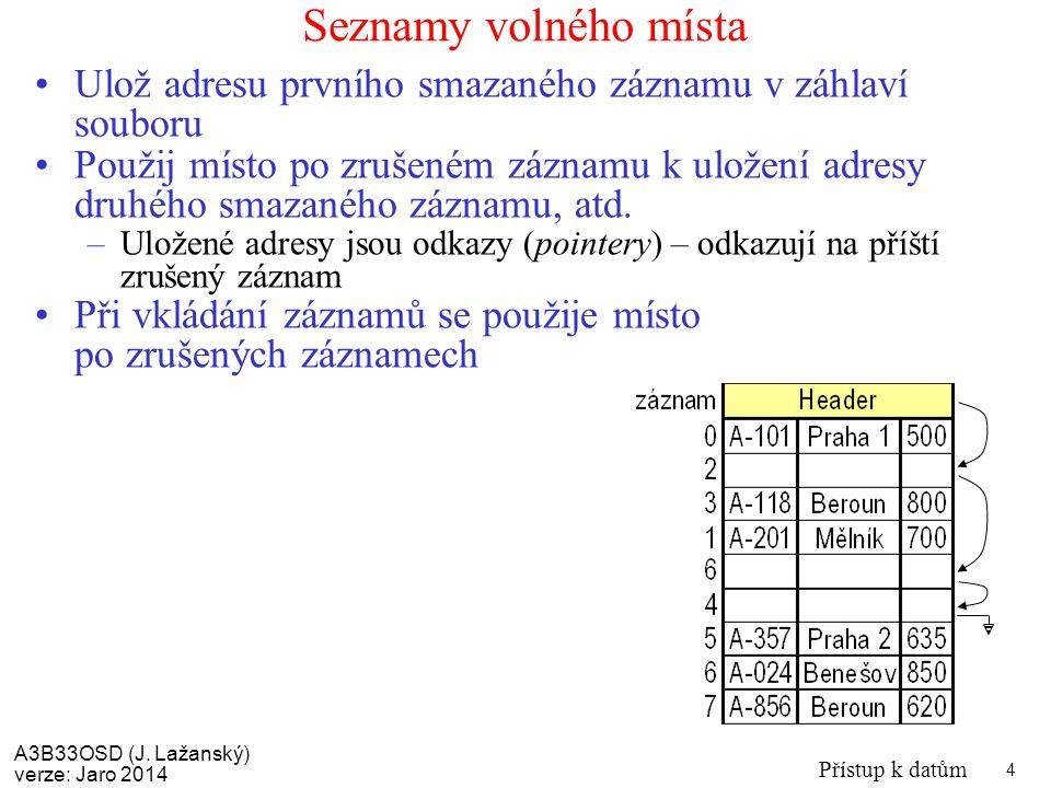 Seznamy volného místa Ulož adresu prvního smazaného záznamu v záhlaví souboru.