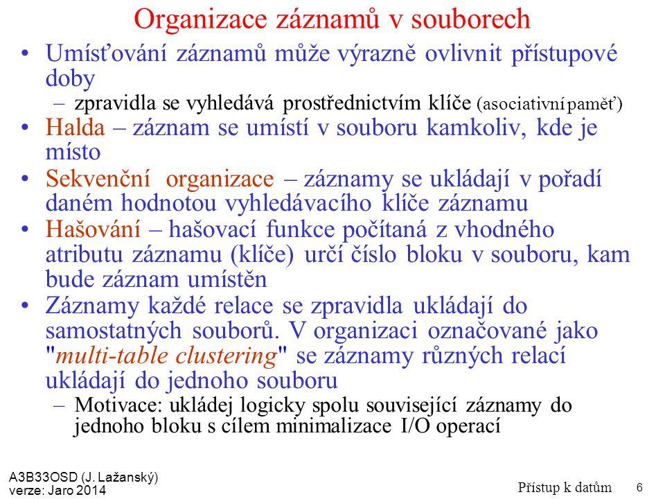 Organizace záznamů v souborech