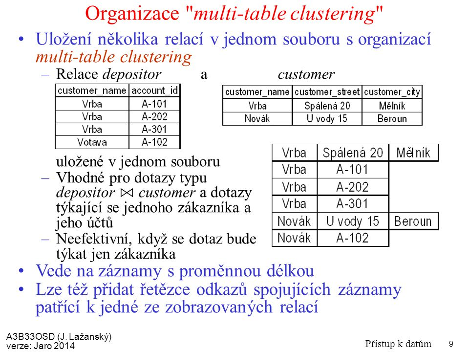 Organizace multi-table clustering