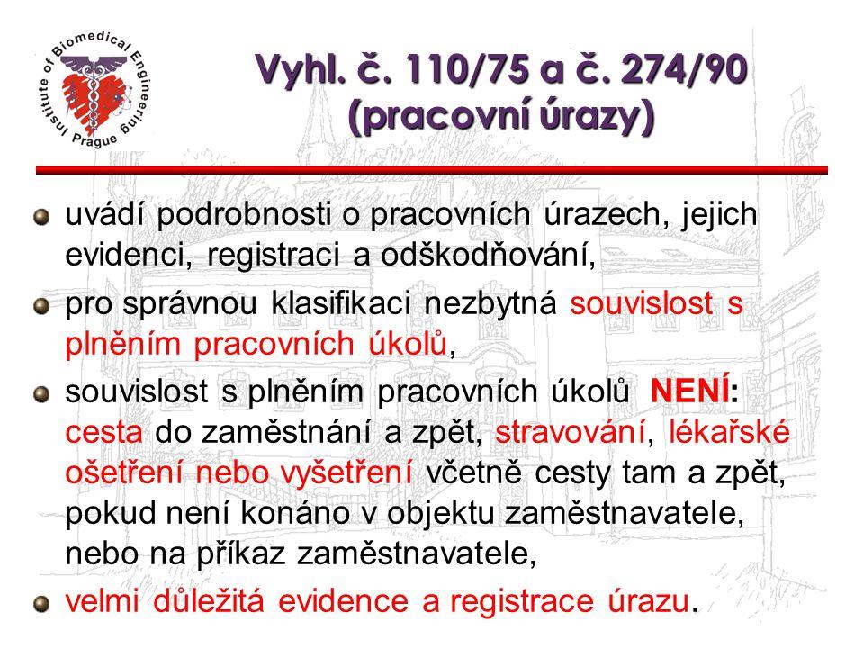 Vyhl. č. 110/75 a č. 274/90 (pracovní úrazy)