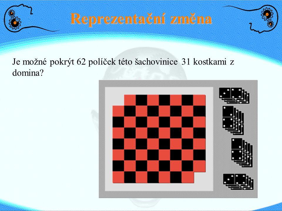 Reprezentační změna Je možné pokrýt 62 políček této šachovinice 31 kostkami z domina 15