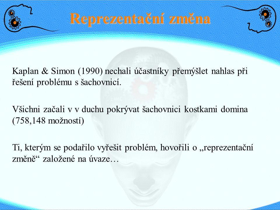 Reprezentační změna Kaplan & Simon (1990) nechali účastníky přemýšlet nahlas při řešení problému s šachovnicí.