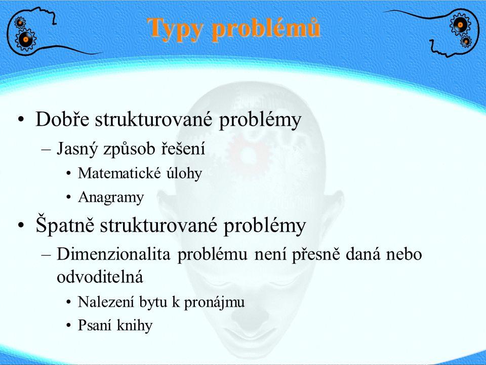 Typy problémů Dobře strukturované problémy