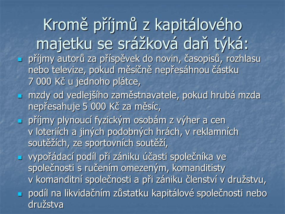 Kromě příjmů z kapitálového majetku se srážková daň týká: