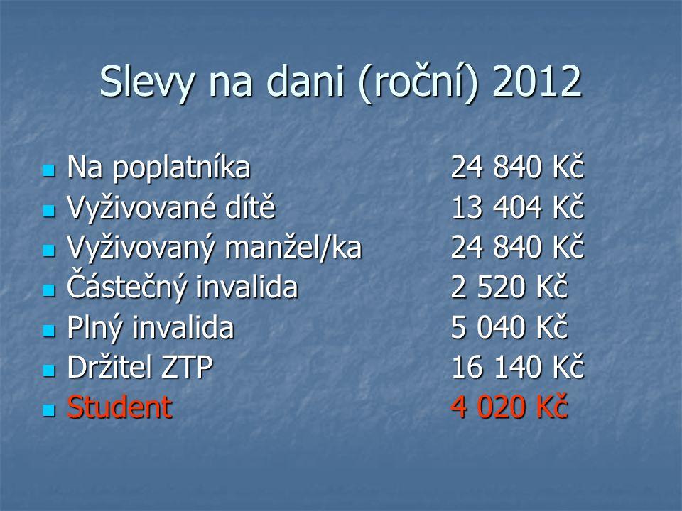 Slevy na dani (roční) 2012 Na poplatníka 24 840 Kč