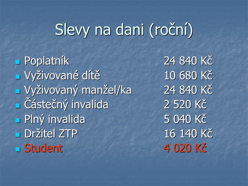 Slevy na dani (roční) Poplatník 24 840 Kč Vyživované dítě 10 680 Kč