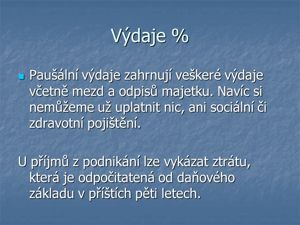 Výdaje %