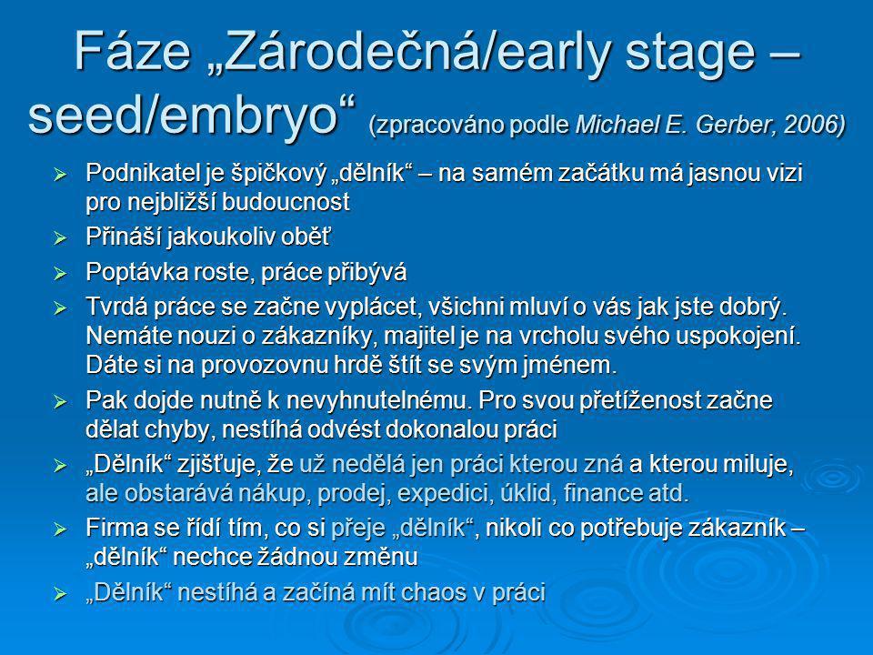 """Fáze """"Zárodečná/early stage – seed/embryo (zpracováno podle Michael E"""